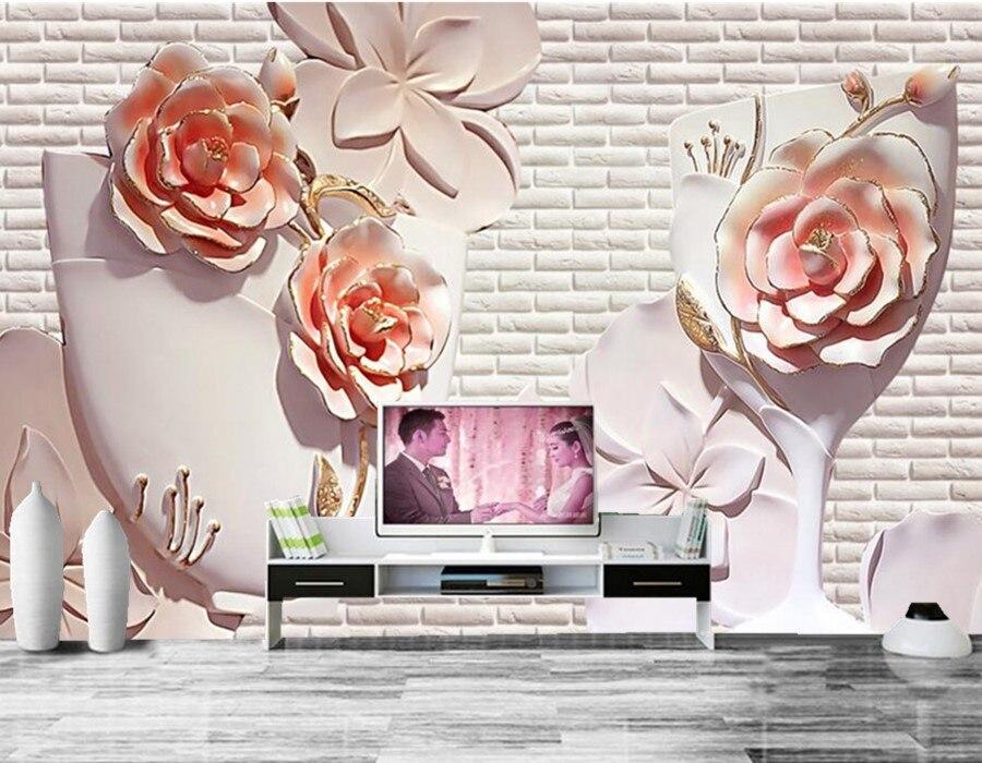 Custom papel de parede,3D flower relief wall mural,hotel restaurant living room sofa TV wall bedroom 3d wall murals wallpaper<br>