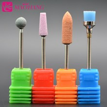MAOHANG 4PCS/LOT ceramic stone milling cutter for electric drill manicure pedicure machine cuticle clean cleaning dust brush