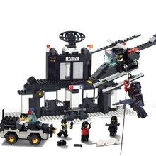 High quality 385pcs SWAT training centre model building kits 3D children early education block toys