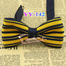 Cheap 2014 New Mens Polyester Adjustable Orange And Navy Striped Formal Neck Bowtie Men Bow Tie,male Fashion Knitting Butterfly