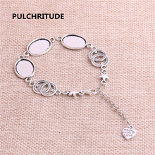 PULCHRITUDE 3pcs 22cm Alloy Antique Silver Chain Bracelet Star Charm Round Cabochon base Setting Fit 18*13mm Women Z0017(China)