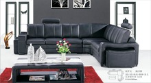 Latest Design Elegant Living Room Furniture Black Leather Sectional Sofa Set 0411-AL330