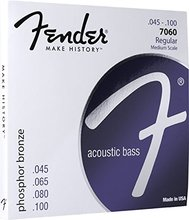 Fender 7060 Phosphor Bronze Acoustic Bass Guitar Strings, Medium Scale, 45-100