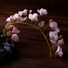 Elegant Gold Metal Pink Flower Women Headband Handmade Peal Plant Wedding Tiaras Bridal Floral Hair Accessories Crown Hairwear