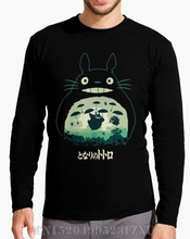 Autumn Rushed Long Sleeve t shirt men Totoro And His Umbrella Letter Long Knitted funny mens High Quality(China)