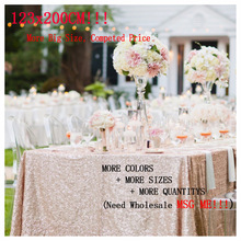 Hot 123x200cm Glitter Champagne Embroidery Lace Sequin Tablecloth Rectangle Gold Table Cloths for Home Wedding Party Table Decor(China)