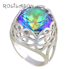ROLILASON Trendy Rainbow Mystic Zircon Silver Stamped Rings Fashion Jewelry USA Size#6 #7 #8#9 JR2136 Best Engagement Gifts - Store store