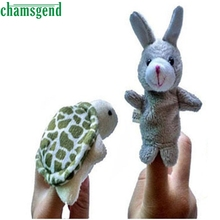 CHAMSGEND Modern CHAMSGEND 2pcs Finger Hand Puppets Plush Toys For Kids Tortoise Animal Rabbit Finger Gloves puppets  H22