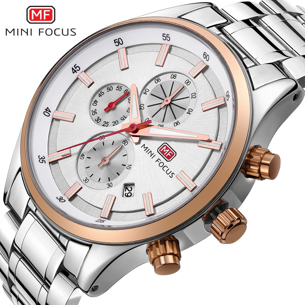MINI FOCUS brand luxury mens 316 stainless steel wristwatches quartz black blue silver man watch waterproof calendar male clocks<br>