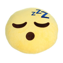 Soft Emoji Smiley Yellow Round Cushion Pillow Plush Toy Doll For Cute Home Decoration(China)