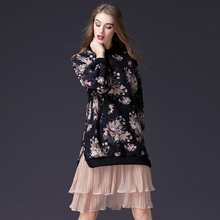 New Arrivals Classic Women Dress Relaxed Fit Suede Dresses Casual Flower Print Female Clothes ssd059