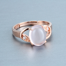 Real 925 Sterling Silver Jewelry Ring Women Open Adjustable Cocktail Nature Stones Ross Quartz Rose Gold Shiny Clear Crystal 1pc