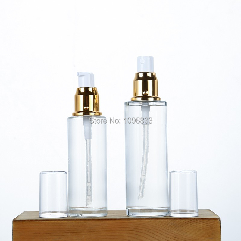 Clear Glass Bottle Gold Lotion Pump Bottle 50ML 60ML 80ML Cosmetic Packaging Container Gold Lid Glass Spray Bottles (1)