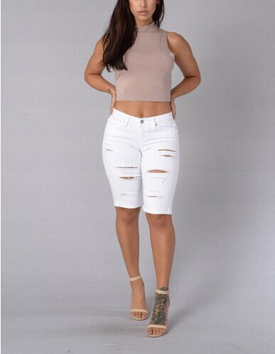 Knee Length Ripped Jeans for Women Holes 2017 Hot Summer Skinny American Apparel Pencil Denim Jeans Sexy White Orange Jean FemmeОдежда и ак�е��уары<br><br><br>Aliexpress