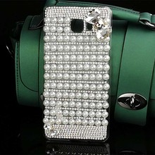 Luxury Bling Pink Bow Crystal Shiny Pearls Diamond Hard PC Case Covers for Samsung Galaxy A7 A3 A5 2016 A7 2016 Grand Prime G530
