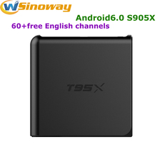 Android6.0 TV Box media player T95X Quad-Core1G+8G Amlogic S905X box tv iptv free one year for HD English USA UK chanenls EPG