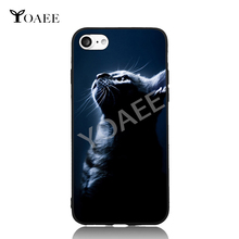 Cat Kitty Looking Up Fun Art For iPhone 6 6s 7 Plus Case TPU Phone Cases Cover Mobile Protection Decor Gift