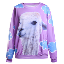 New Arrival Women Sweatshirt Little Lamb Printed Hooded Sweatshirt moletom  Suit Hoodie Outside Woman Sudaderas