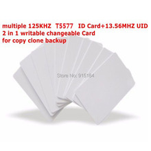 Dual Chip Frequency RFID 13.56Mhz 1K UID and T5577 125 kHz ID blank card Readable Writable Rewrite for copy clone backup copier(China)