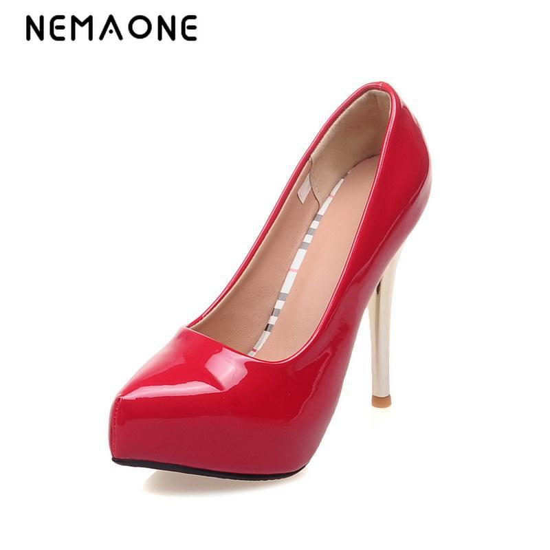 NEMAONE 2016 New Hot Ladies Sexy Thin High Heels Pumps Casual Female Round Toe Platform Single Shoes Women Wedding Party Shoes<br>