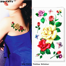 Nu-TATY Sexy Yellow Rose Child Temporary Body Art Flash Tattoo Sticker 10*17cm Waterproof Henna Fake Tatoo Wall Tattoo Sticker