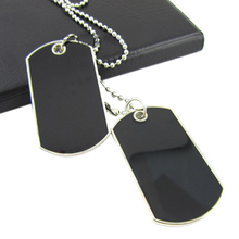 Summer Style Army Tactical Style Black 2 Dog Tags Chain Beauty Mens Pendant Necklace for Men Jewelry 5Z2O