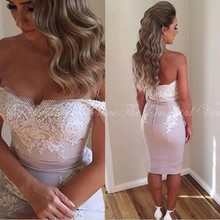 2017 Arabic Mermaid Short Bridesmaid Dress Knee Length 3 Styles Ivory Lace Applique Lilac Fast Shipping Girls Dress For Weddings