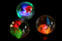 5.5CM With Fish Bouncing Ball Transparent Crystal luminescence Elastic Ball Flashing Ball