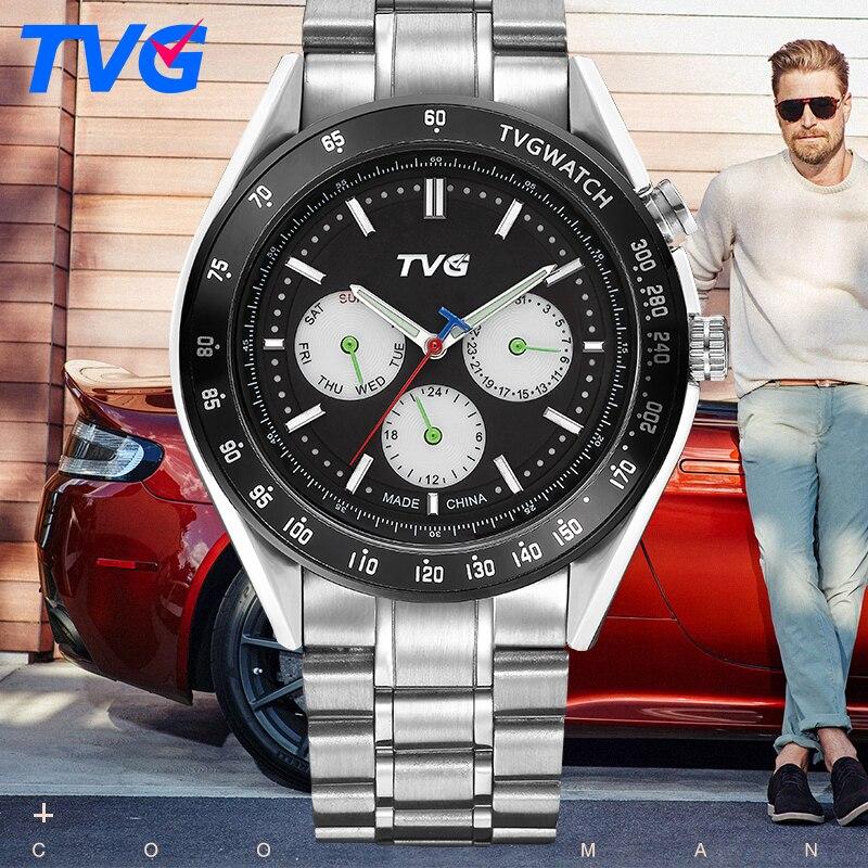 2017 TVG Stainless Steel Analog watches Luxury Quality Clock Japanese-Quartz movement 30M waterproof Quartz Watch Date display<br><br>Aliexpress