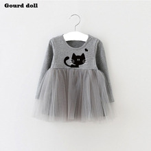 Baby Girls Dress character cat Infant Party Dress For Toddler Girl 4-24M Brithday Baptism Clothes Double Formal Dresses(China)