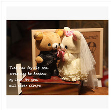 20CM Rilakkuma one pair married Valentine's Day present for his girlfriend wedding gift wedding bear stuffed toy free shipping