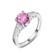 Classic Wedding Band Simple Design 4 Prongs Sparkling Pink Cubic Zirconia Bijoux Forever Love Wedding Ring Birthday Gift LSR126(China)