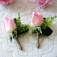 Prom 2pcs Fabric Handmade Boutonniere Artificial Peony Groom Suit Corsage Brooch Flower Wedding Decor Pink F423
