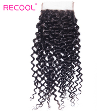 Recool Brazilian Curly Hair Closure 4*4 Free Part Lace Closure With Bleached Knots Natural Color Remy Hair Free Shipping