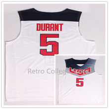 Cheap mens #5 Kevin Durant Team USA Basketball Jersey Retro College Throwback Men's Throwback Embroidery jerseys(China)