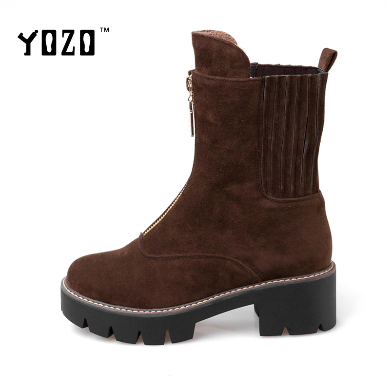 YOZO Women Boots Fashion Nubuck Leather Lace Up Flock Ankle Boots Women Chelsea Boots Women Brand Martin Boots Zapatos Mujer <br><br>Aliexpress