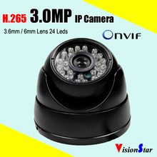 Small 3axis metal base night vision h.264 / h.265 high resolution 3.0mp dome ip camera for home security system