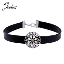 Buy JOOLIM Jewelry Wholesale/2017 Simple Black Leather Silver Color Vintage Crystal Charm Choker Necklace Fashion Jewelry for $1.76 in AliExpress store
