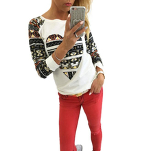 Newly Design Fashion Bohemia Love Heart Full Sleeve Shirt Autumn Winter Spring Top Outfit Apparel For Women