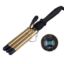 30s Fast Heat19mm Triple Barrels Hair Curler 110-220V Ceramic LCD Hair Curling Wand Rollers Hair Curling Iron Hair Styling Tool(China)