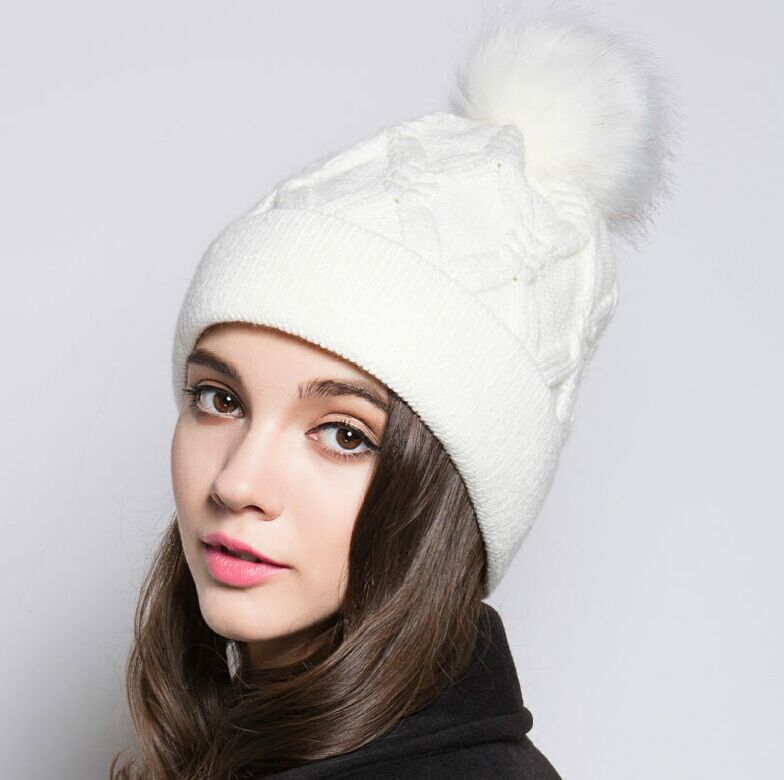Europe and the United States the new fashionable hat Autumn and winter Women knitting hat warm fluff ball white hat A2369Одежда и ак�е��уары<br><br><br>Aliexpress