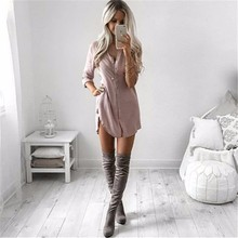 Fall 2017 Autumn Casual Loose Long Sleeve Button Shirt Dresses Mini Vestidos Long Tops Blouses Plus Size(China)