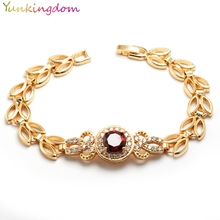 Yunkingdom  jewelry Delicate round design cubic zirconia bracelet for women Gold Color Bijouterie 4 colors