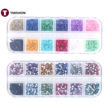 12Colors Nail Art Rhinestone Nail Decoration Manicure Tips UV Gel Acrylic Design 3D Rhinestones Pearl 2Types