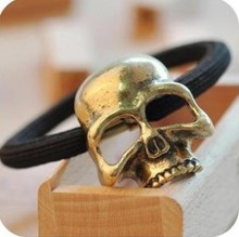 Cheap European and American jewelry retro punk three-dimensional skull metal hair band wholesale Tousheng  free shipping