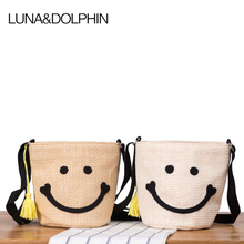Luna&Dolphin Women Shoulder Bag Lovely Bucket Bag Big Smile Face Weave Handbags Paper Bucket Casual Drawstring Beach Bag(China)