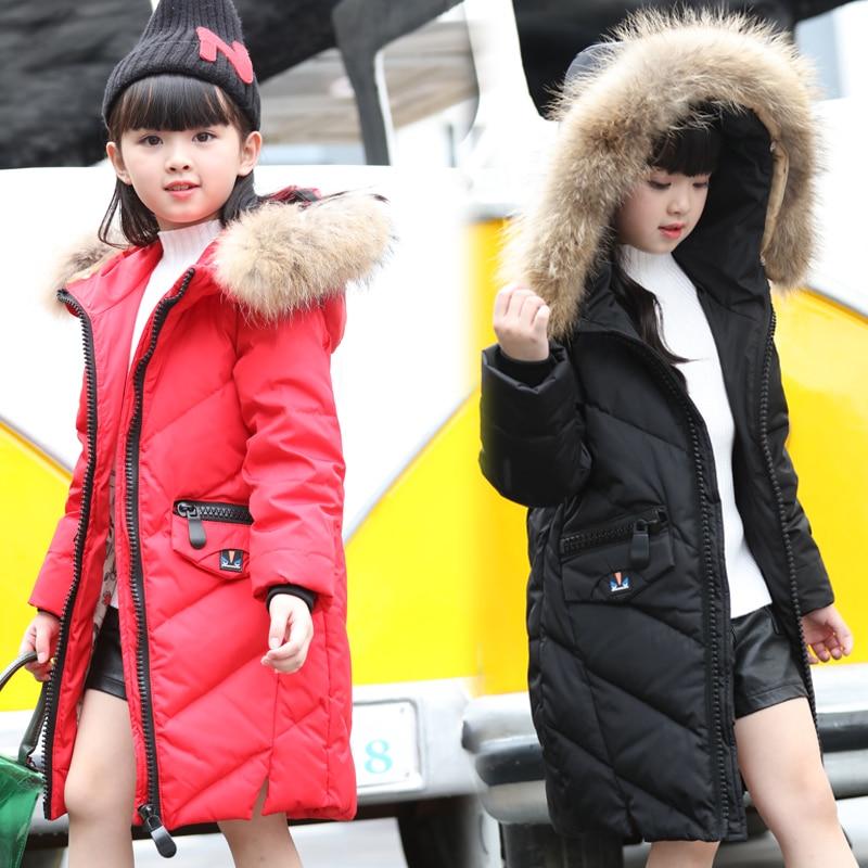 Winter Russian Girls Clothing Children Jacket Long Fashion Warm Hooded Overcoat Child Topcoat Kids Cloak Raccoon Fur Thick Coat<br>