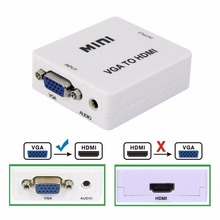 Mini VGA to HDMI Converter With Audio VGA2HDMI 1080P Adapter Connector For Projector PC Laptop to HDTV with HDMI2VGA Converter(China)