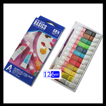 12 colors 6ml Acrylic Paints Set Paints Wall Textile Spray Paint Fabric Paint Art Supplies with gift Brush
