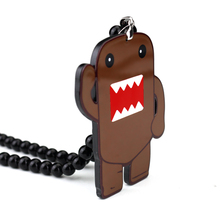 Brown DOMO KUN Badge Fashion Pendant Car Styling JDM Interior Rearview Mirror Ornament Beads Hellaflush Charm Hip Hop Necklace(China)